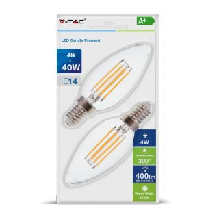LOT DE 2 AMPOULES LED FLAMME FILAMENT E14 4W V-TAC VT-2174 SOUS BLISTER